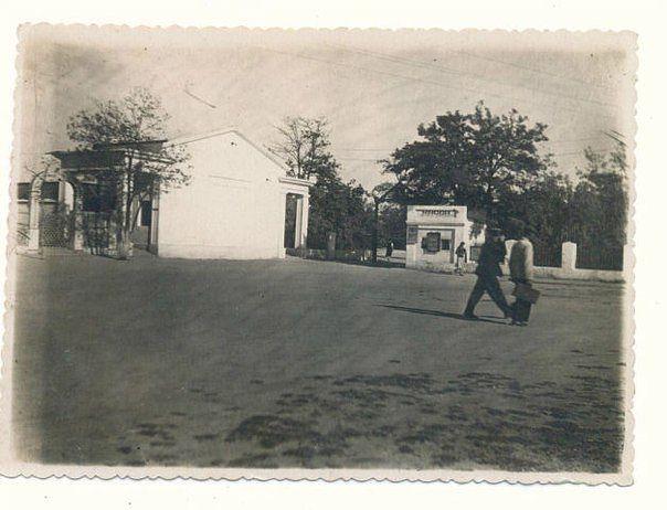 Летний кинотеатр. У входа в пионерский парк рядом Дом школьника