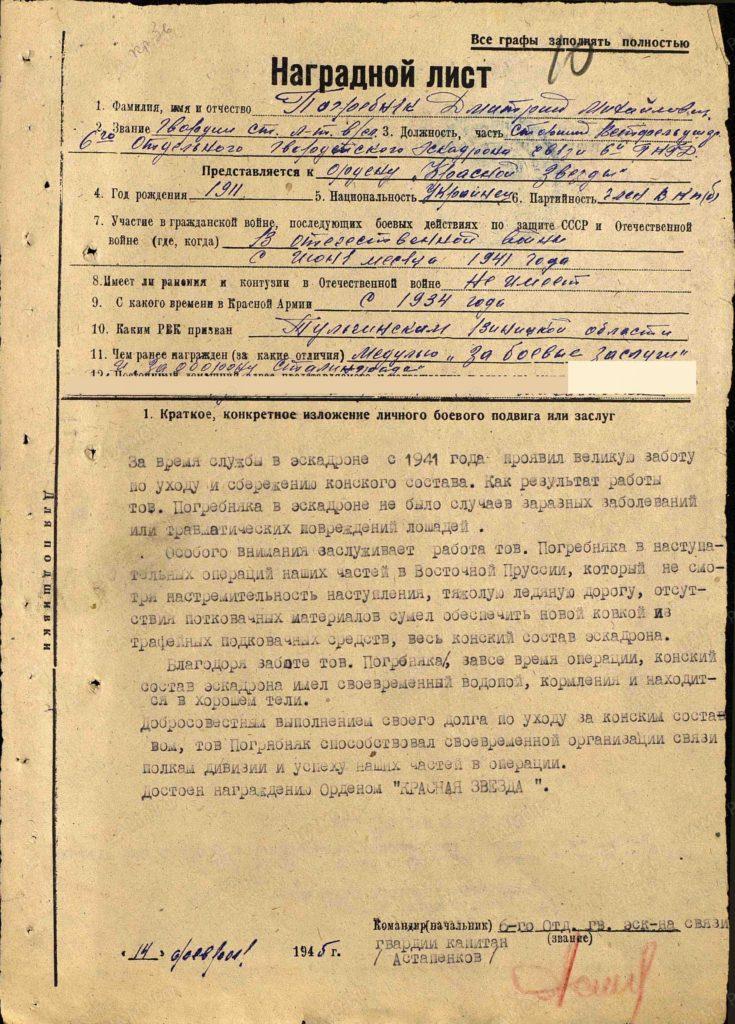 dmitrij pogrebnjak nagradnoj list 2 735x1024 - #КнигаПамяти джанкойцев 2020: Дмитрий Погребняк
