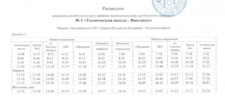 Расписание автобусов. Джанкой. маршрут 1