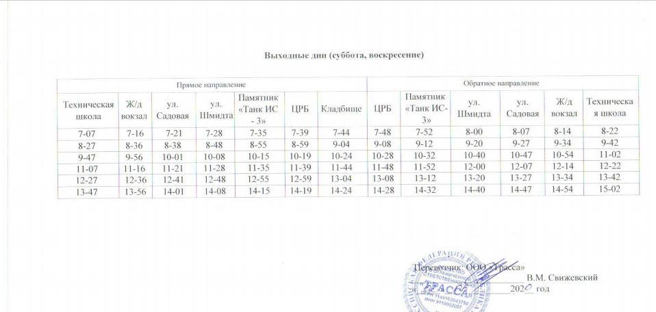 Расписание автобусов. Джанкой. маршрут 11 - выходные дни