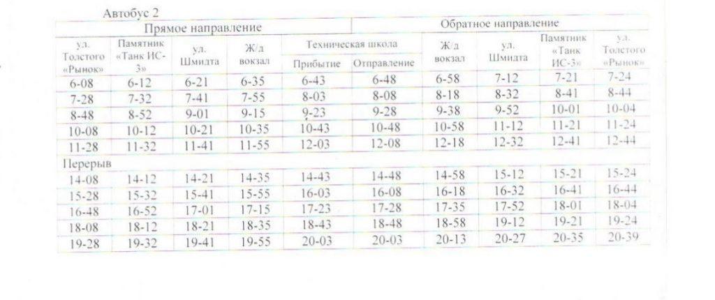 Расписание автобусов. Джанкой. маршрут 3 - автобус 2