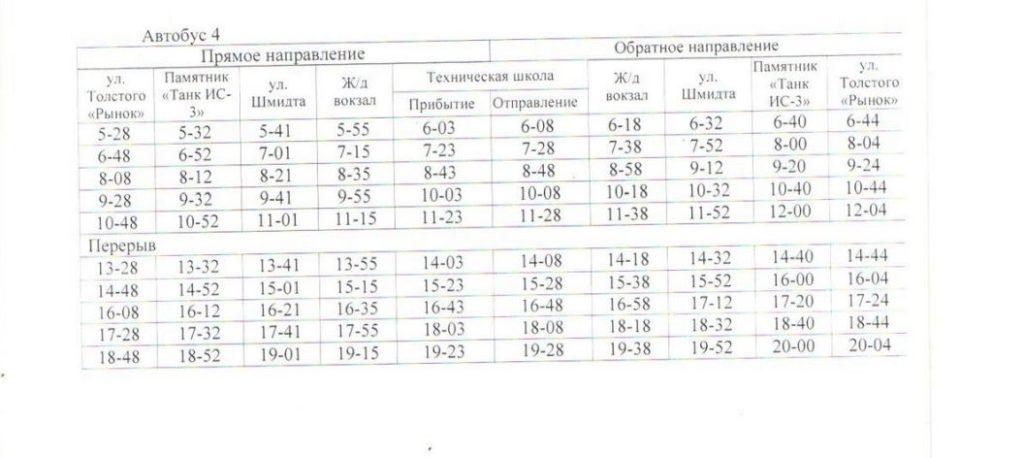 Расписание автобусов. Джанкой. маршрут 3 - автобус 4
