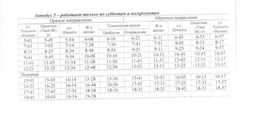 Расписание автобусов. Джанкой. Маршрут 3 - автобус 5