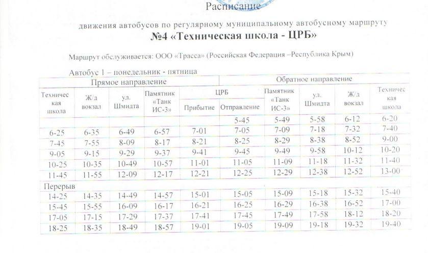 Расписание автобусов. Джанкой. Маршрут 4 - автобус 1