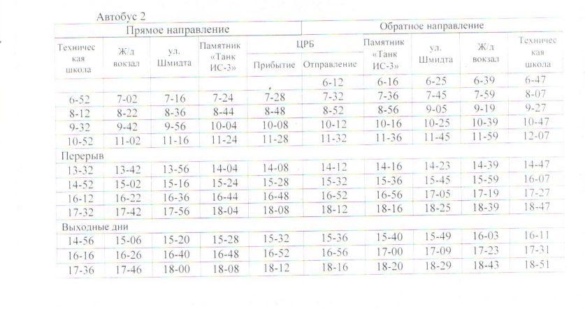 Расписание автобусов. Джанкой. маршрут 4 - автобус 2