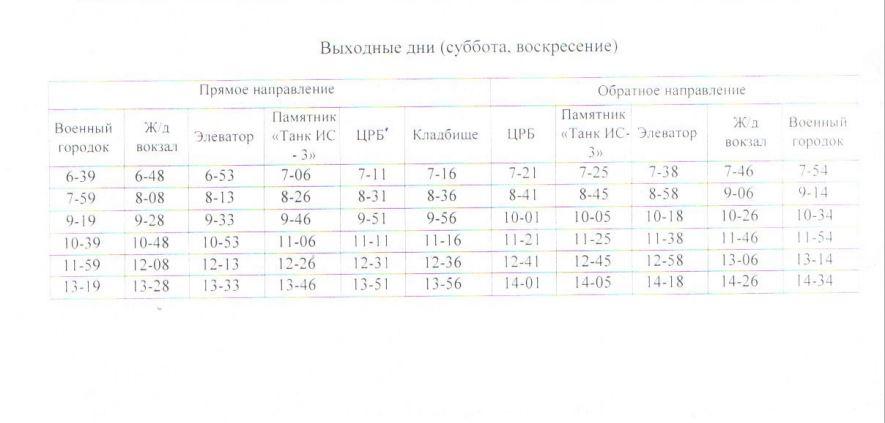 Расписание автобусов. Джанкой. маршрут 8 - выходные дни