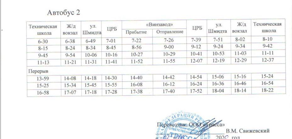 Расписание автобусов. Джанкой. маршрут 9 - автобус 2