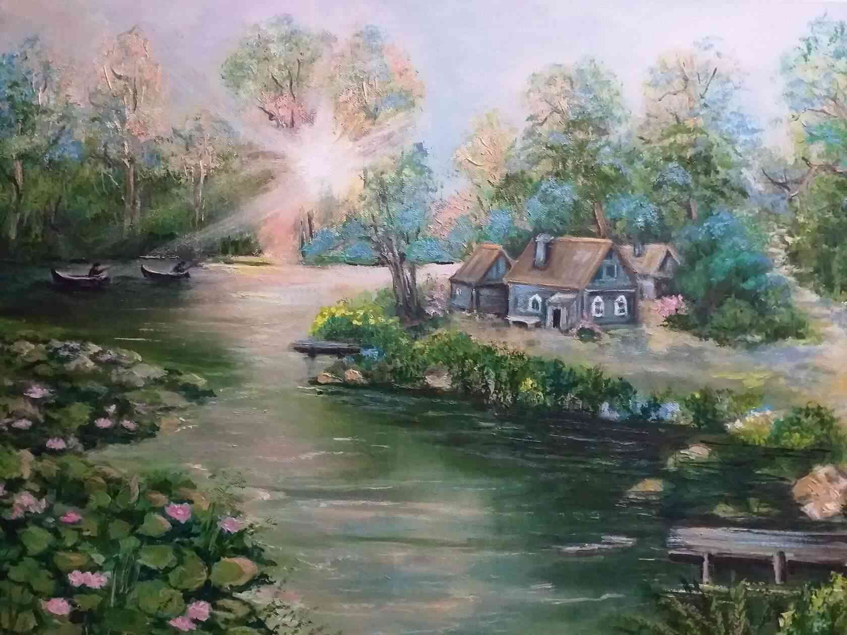 «Утро. Рыбаки». Работа Натальи Астанькович. Масло. Холст. 70х50.